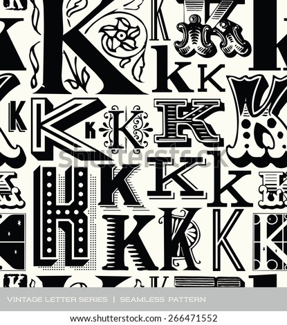 Seamless vintage pattern of the letter K - stock vector