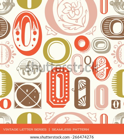 Seamless vintage pattern of the letter O in retro colors - stock vector