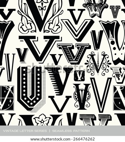 Seamless vintage pattern of the letter V  - stock vector