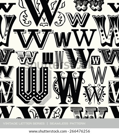 Seamless vintage pattern of the letter W  - stock vector