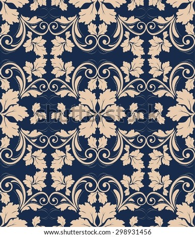 seamless vintage pattern on blue background - stock vector