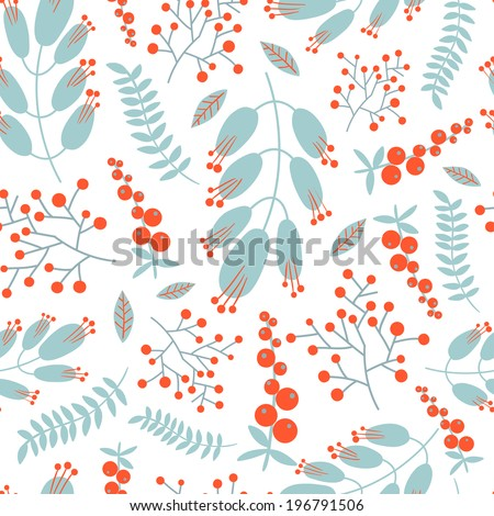 Seamless vintage pattern with decorative flowers. Vector illustration. - stock vector
