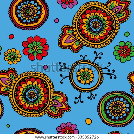 Seamless vintage pattern with floral motifs. Based on a traditional oriental textiles. Multicolored. - stock vector