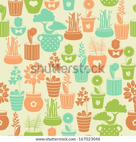 Seamless vintage pattern with flowers in pots - stock vector