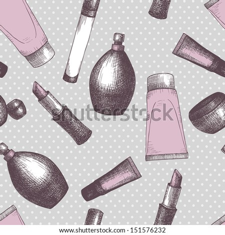 Seamless vintage pattern with graphic cosmetics. Vector background with fashion elements. - stock vector