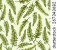Seamless vintage pattern with painted leaves . Vector illustration - stock vector