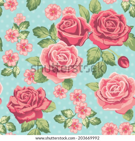 Seamless vintage rose floral pattern. Vector illustration. - stock vector