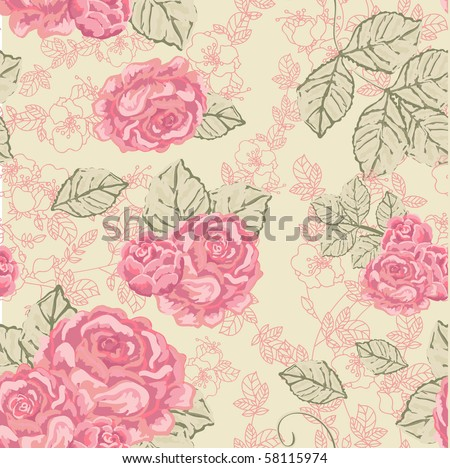 seamless vintage rose pattern