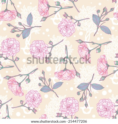 Seamless vintage rose pattern. Delicate background with pastel colors.  Elegance wallpaper with of pink roses on floral background. Decorative Beautiful vector illustration texture.  - stock vector