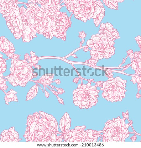 Seamless vintage rose pattern on blue background. Delicate background with pastel colors. Seamless patterns are used in textile design, postcards, calendars, websites, wallpapers.  - stock vector