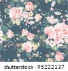seamless vintage rose pattern on navy background - stock photo