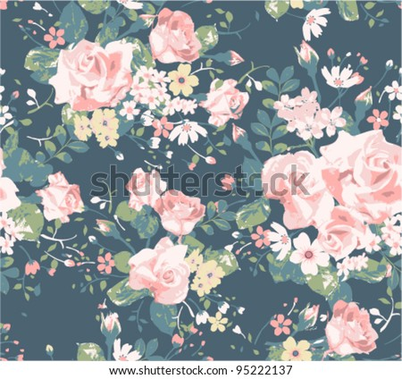 seamless vintage rose pattern on navy background - stock vector