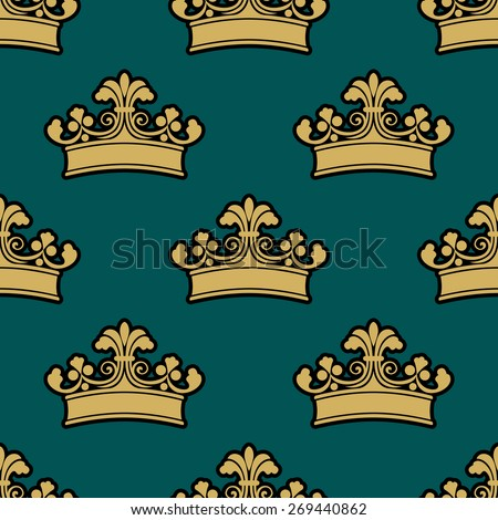 Seamless vintage royal crowns pattern with carved leaves and swirls on dark turquoise background for luxury wallpaper or interior design - stock vector