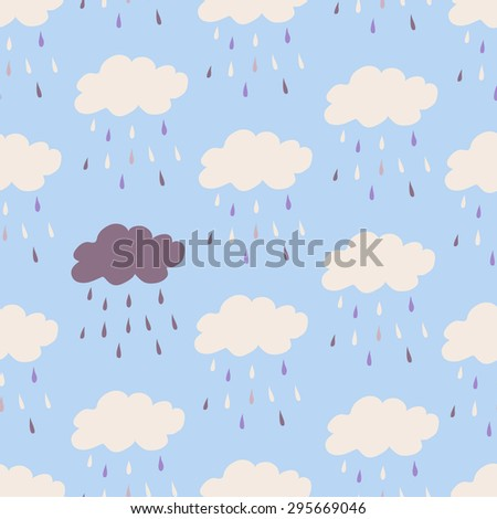 Seamless vintage style clouds rain illustration. Seamless Patterns - Rain and Clouds - Texture for wallpaper, background, texture, scrapbook - in vector - stock vector