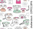 Seamless vintage telephone retro background pattern in vector - stock photo