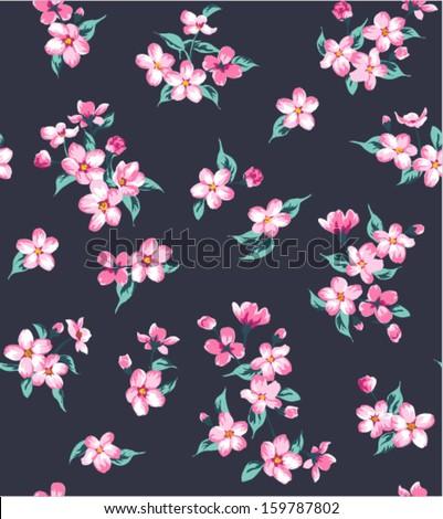 seamless vintage tiny flower  pattern navy background - stock vector