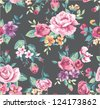 seamless vintage tropical flower pattern vector - stock photo