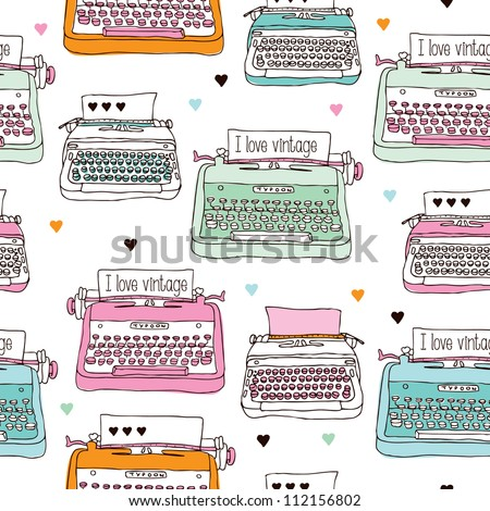 Seamless vintage typewriter illustration background pattern in vector - stock vector