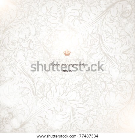 Seamless vintage Wallpaper, Detailed Vector Background with antique and baroque flowers. For spring and summer retro design.