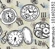 Seamless vintage watch pattern - stock vector