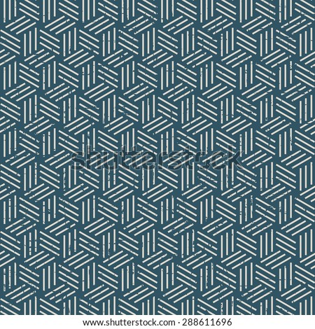 Seamless vintage worn out 3D line box pattern background. Seamless Background image of vintage worn out 3D line box pattern. - stock vector