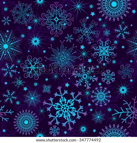 Seamless violet christmas pattern with colorful gradient snowflakes, vector - stock vector