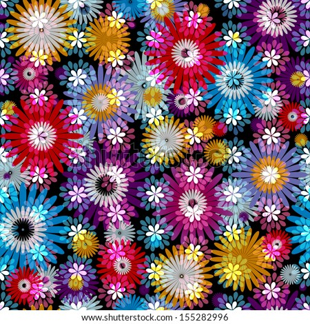 Seamless vivid floral spring pattern with translucent colorful flowers (vector EPS 10) - stock vector