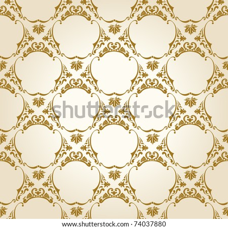 Seamless wallpaper background vintage gold vector - stock vector