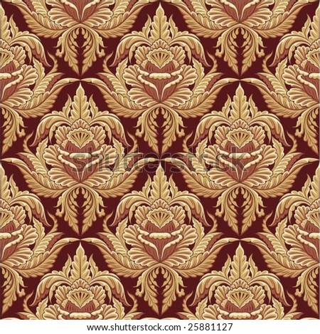 Seamless wallpaper Baroque Style - stock vector