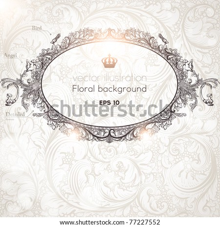 Seamless Wallpaper, Detailed Vector Background with antique and baroque flowers. For spring and summer design. Vintage frame for retro banners.