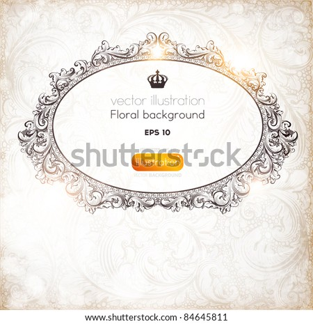 Seamless Wallpaper, Detailed Vector Background with antique and baroque flowers. Vintage frame for retro banners or christmas invitations - stock vector