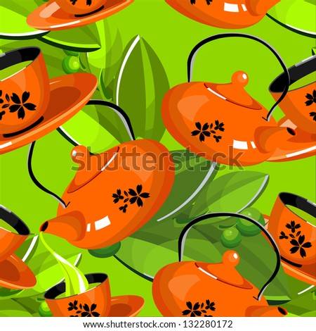 seamless wallpaper fabric green tea poured from a teapot into a cup and saucer on the background of the tea leaves - stock vector