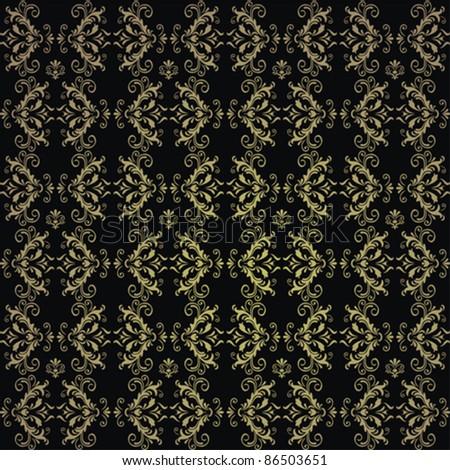 Seamless wallpaper pattern, dark - stock vector