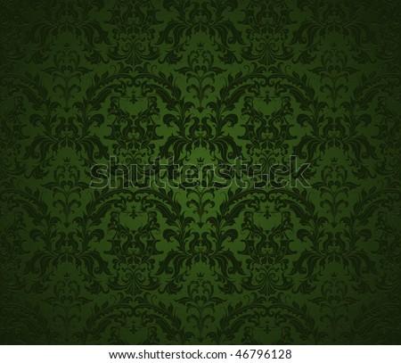 Seamless wallpaper pattern, green - stock vector