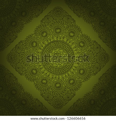 Seamless wallpaper pattern, green color. eps 10. - stock vector