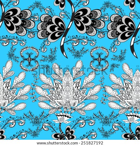 Seamless wallpaper pattern in vintage style on blue background. - stock vector