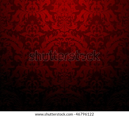 Seamless wallpaper pattern, red - stock vector
