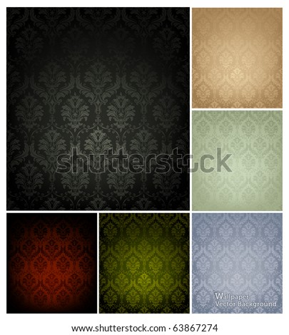 Seamless Wallpaper Pattern, set of six colors - stock vector