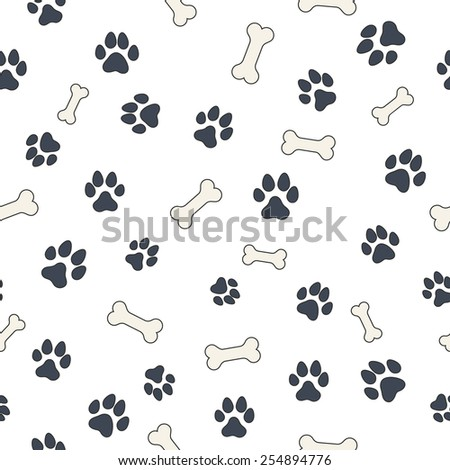 Seamless wallpaper pattern with dog's bones and paws for your design - stock vector