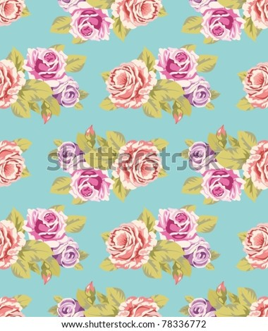 Seamless wallpaper pattern with of purple and pink roses on turquoise background, vector illustration - stock vector