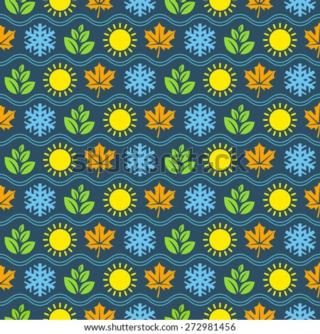 Seamless wallpaper pattern with seasons icons - stock vector