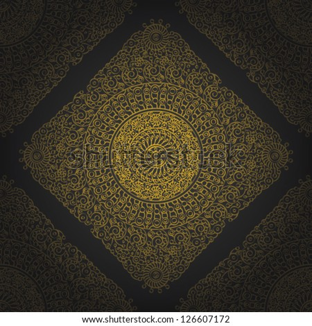 Seamless wallpaper pattern, yellow, eps 10. - stock vector