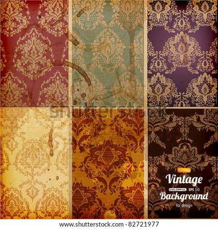 Seamless wallpaper set for vector retro background - stock vector