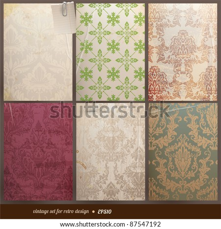Seamless wallpaper set for vector retro background, old paper texture - stock vector