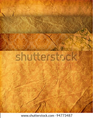Seamless wallpaper set for vector retro background.  Set of 4 old paper textures and 5 seamless ornaments. - stock vector