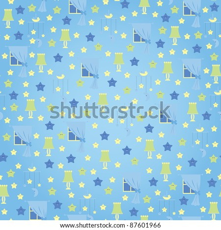 Seamless wallpaper. Sweet dreams - stock vector
