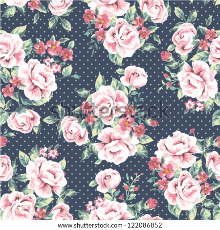 seamless wallpaper vintage flower pattern on dot background - stock vector
