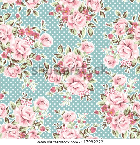 Seamless Wallpaper Vintage Flower Pattern On Dot Green Background