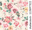seamless wallpaper vintage rose pattern background - stock