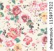seamless wallpaper vintage rose pattern background - stock